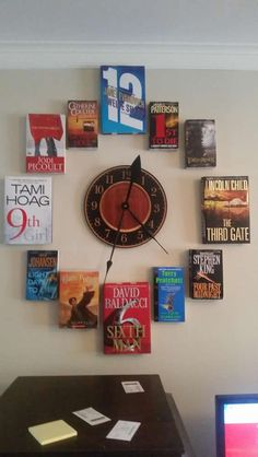 The Book Clock - For Reading Addicts Book clock (could be adapted for children's library)
