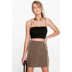 Boohoo Night Ferrara Shimmer Slinky Mini Skirt ($14) ❤ liked on Polyvore featuring skirts, mini skirts, khaki, midi skirt, calf length skirts, short khaki skirt, cocktail skirt and mid calf skirt