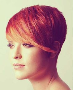 Red and coppery-orange pixie, close to the color I already have so its a running in the pixie style for my cut