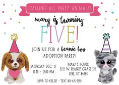 Beanie Boo Adoption Party Birthday Invitation  by kelsieraedesigns