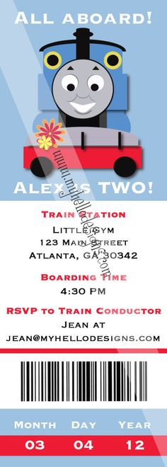 Thomas the Train Birthday Party OMG @Cary N Telisha Bolden Peet i knew u would want to see this!!!! Whoot Whoot LOL Would make a cute card. Noah's birthday. Without Thomas and with a regular train. Thank heavens for a hunk of a husband who does graphic design for a living.