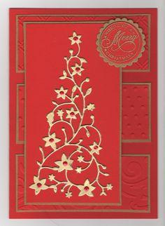 Hand made christmas card using memory box flowering christmas tree die cut