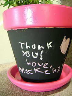 Chalkboard flower pot #crafts #holiday