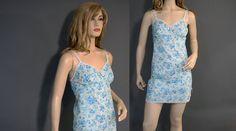 Vintage Full Slip 70s Blue Floral Mini by vintagedaisydeb on Etsy