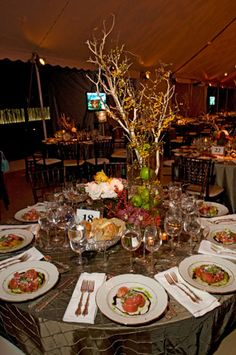 Centerpieces of branches and apples and set them on sage for Table 52 brunch menu