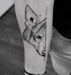 Sketch style wolf tattoo by Kamil Mokot