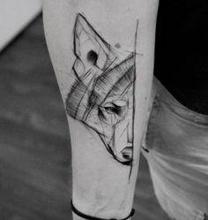 Sketch style wolf tattoo by Kamil Mokot