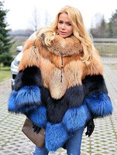 fox furs - saga fox fur poncho