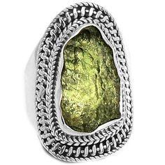 Genuine Czech Moldavite 925 Sterling Silver Ring Jewelry s.8 MLDR1637 - JJDesignerJewelry