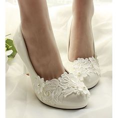 Women White Pearl Lace Patent Leather High Heel Bridal Wedding Shoes SKU-1091059
