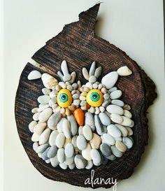 ahşap dilim üzerine taş boyama baykuş owl