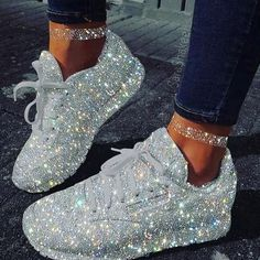 This Viral Glitters Sneakers Making Woman Wow! Storefyi Rhinestone Glitters sneakers are the best thing to have right now in woman sneakers list. get in storefyi Sparkly Shoes, Glitter Shoes, White Shoes, Sequin Shoes, Fancy Shoes, Sneakers Fashion Outfits, Fashion Shoes, Shoes Sneakers, White Sneakers