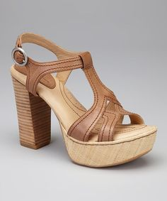 Take a look at this Wood Leather Shanna T-Strap Platform Sandal by Born Crown on #zulily today!