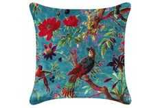 Paradise Bird Cushion Cover (Teal) - Featuring a stunning tropical design printed onto soft velvet. Made from cotton. Tropical Design, Furniture For Small Spaces, Soft Furnishings, Home Accessories, Home Improvement, Paradise, Teal, Cushions, Textiles