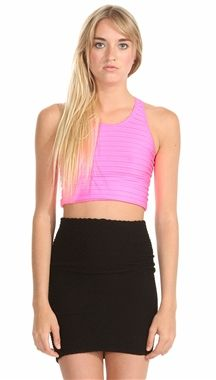 Sugar Lips Seamless Ribbed Crop Tank - Neon Colors - Black - White - Basic Crop - Ribbed Spandex #fashion #style #faashion #sexy  #neon