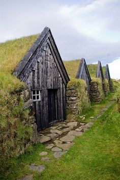 Old fashioned earth shelters (torfbær), Iceland