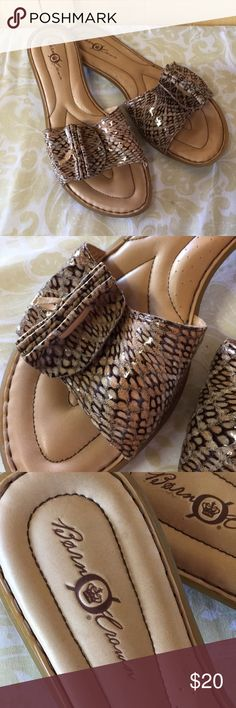 Born Crown Stylish sandals, cushioned and cozy! Size 10, cute with shortys ir a summer dress! Leather with snake skin pattern Born Crown Shoes Flats & Loafers