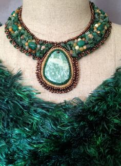 Bead Embroidered Collar Tree Agate Cabachon by bjswearableart, $135.00