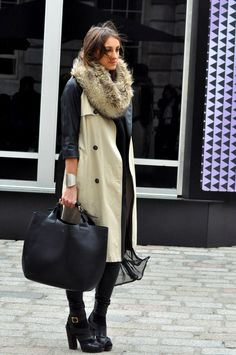 Cool & chic in classic trench coat w/ leather sleeves, chuffon dress & fur snood #StreetStyle