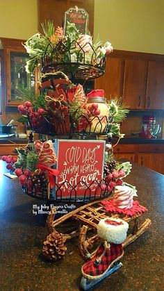 Easy DIY Indoor Christmas Decor and Display Ideas, Ways To Decorate Your Tiered Tray For Christmas, Kitchen Counters, or Fireplace Mantle Decorating, Christmas Decor Indoor Christmas Decorations, Christmas Baskets, Christmas Kitchen, Cozy Christmas, Christmas Centerpieces, Country Christmas, Christmas Wreaths, Christmas Crafts, Christmas Ideas