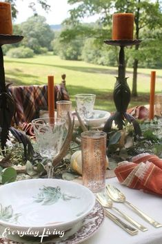 8 Favorite Autumn Tablescapes Whatever Is True, Plaid Tablecloth, Old Oak Tree, Dough Bowl, Simple Centerpieces, Harvest Time, Love Is All, Best Part Of Me, Dinner Plates