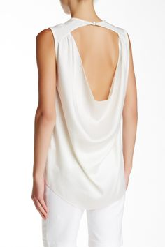 Sleeveless Open Cowl Back Silk Blouse