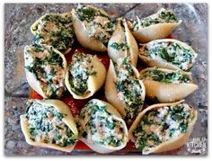 21 day fix healthy stuffed shells... 1 yellow, 1 red, 1 purple, 1 blue for 4 shells!