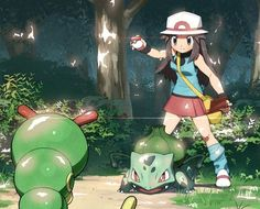 Pokemon Trainer Leaf and Bulbasaur Lucario Pokemon, Bulbasaur, Pikachu, Pokemon Fan Art, Cute Pokemon, Pokemon Go, Pokemon Images, Pokemon Pictures, Pokemon Rouge