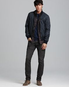 $John Varvatos USA Cotton Bomber Jacket, Plaid Sport Shirt - Slim Fit, Statue of Liberty Graphic Tee & Bowery Straight Fit Jeans in Slate Gray - Bloomingdale's