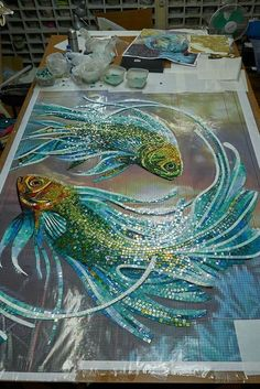 Mosaic art image by Ernie Barrow on DIY Rug in 2020 Mosaic Tile Art, Mosaic Artwork, Mosaic Diy, Mosaic Crafts, Mosaic Projects, Mosaic Glass, Mosaic Designs, Mosaic Patterns, Mosaic Animals