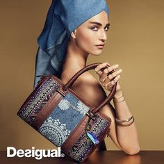 Desigual MALTA AFRICAN ART purse. Mix of denim and tribal design. Fall-Winter 2015 collection, now at Angel.
