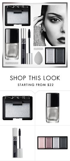 """""""Silver Night"""" by monmondefou ❤ liked on Polyvore featuring beauty, NARS Cosmetics, Chanel, Christian Dior, Clé de Peau Beauté, beautyblender, Beauty, Silver, gray and kendalljenner"""