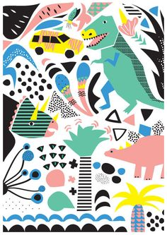 Jurassic Party Art Print. Illustration of dinosaurs by HelloPants