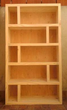 biblioteca asia repartida 1,00x1,80x0,30, de pino, reforzada