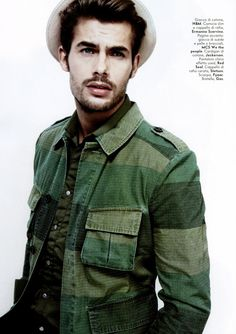 "Stripe camo and olive shirt. ""Hey boy"" by Adriano Russo for Vanity Fair."