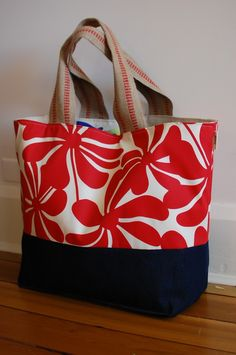 EXTRA Large Beach Bag // Tote  in Red Floral by LucyJaneTotes, $68.00