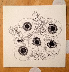Anemone flower bouquet drawing micron pen ink