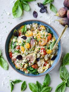 late summer risotto with roasted tomatoes, corn and figs I howsweeteats.com