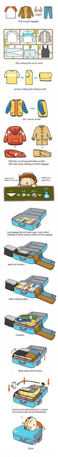 How to pack luggage more efficiently step by step DIY tutorial instructions