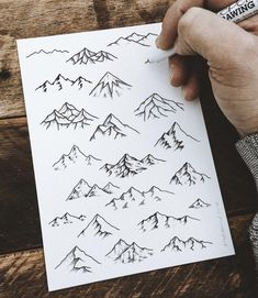 Mountain drawing simple, mountain tattoo, small tattoos, simple sketches, s Mountain Drawing Simple, Mountain Sketch, Simple Nature Drawing, Nature Sketch, Mountain Art, Montain Tattoo, Schulter Tattoo, Tattoo Zeichnungen, Jewellery Sketches