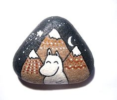 Moomin and mountains hand painted art stone. by SeeQueenStones, £10.00