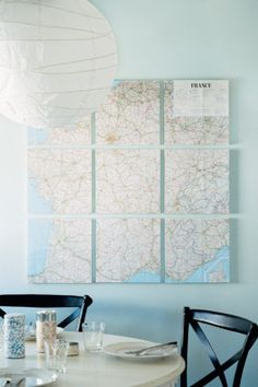 Wall Collage -- Take a map or blown-up photo and segregate it over several canvases. When hung in a group, they reveal the larger picture.