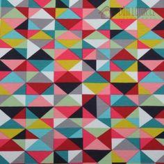 Úplet FRENCH TERRY s barevnými trojúhelníčky | Dětský úplet | Důmlátek.cz - látky a metráž