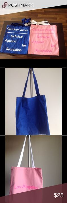 2 new outdoor voices canvas tote bags GReat for gym or groceries..see individual listings for sizes Outdoor Voices Bags