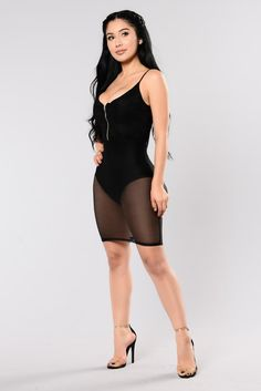 Available in Black Mesh Dress with Bodysuit Lining Zipper Front Bodysuit Snap Closure Crochet Top Detail Made in USA Polyester Spandex Fashion Poses, Girl Fashion, Womens Fashion, Carolina Ramirez, Latino Girls, All Black Outfit, Dress Black, Girl Outfits, Cute Outfits