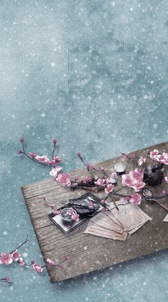 She left her papers scattered. The tea pot still warm, the steam carrying through the breeze in a little dance. Old petals from the cherry blossoms began to fall, coated in ice as it touched the ground. As her sadness consumed her, so did the ice with in her soul. -Katt Asuna