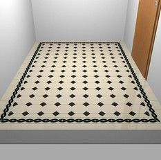 Black diamonds with twist edge on white field - imagine in dark blue... HOW TO MAKE A PATTERN WITH FLOOR TILES? -