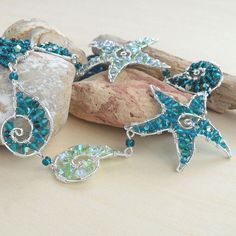 Nautical Mermaid Necklace Blue Ocean Jewelry Handmade Sterling Silver Swarovski Crystal Bead Sea Art Starfish Wire Wrapped Sea Star Teal on Etsy, $249.00