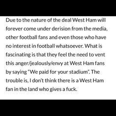 West Ham Fans, West Ham United Fc, To Vent, Football Fans, Envy, The Unit, Feelings, Sayings, Lyrics