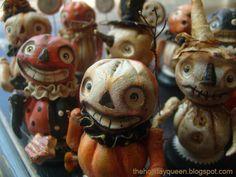 """ The wee ones are getting restless!"" Halloween Folk Art by Melissa Valeriote  - pumpkin dolls"